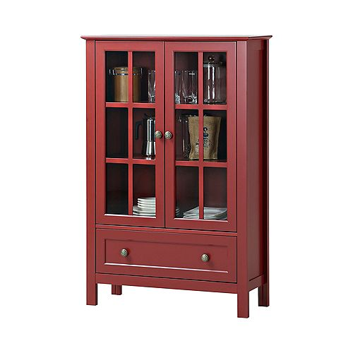 31.5-inch x 12-inch x 47.25-inch Fibreboard & Tempered Glass Free-Standing Cabinet in Red