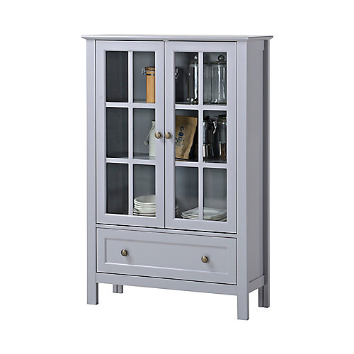 31.5-inch x 12-inch x 47.25-inch Fibreboard & Tempered Glass Free-Standing Cabinet in Grey