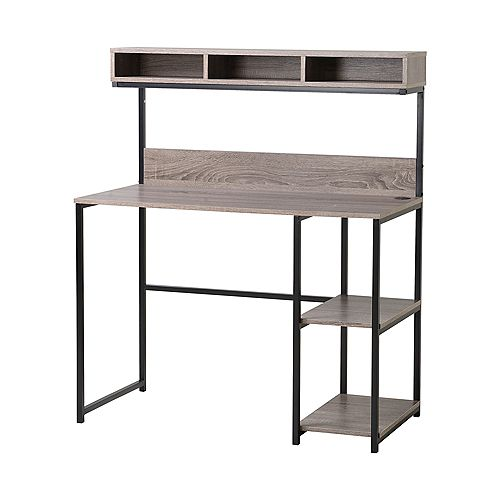 Laptop Desk with Hutch in Grey