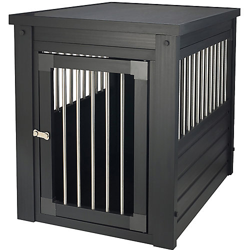 Habitat N' Home Indoor Small Pet Crate End Table with Stainless Steel Spindle in Espresso