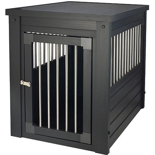 Cage d'intérieur et table de bout à barreaux en acier inoxydable Habitat N' Home, petit, espresso