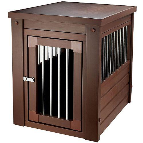 Cage d'intérieur et table de bout à barreaux en acier inoxydable Habitat N' Home, brun roux