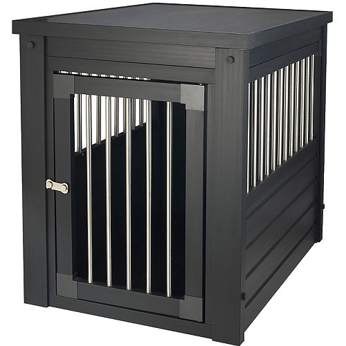 Habitat N' Home Indoor Medium Pet Crate End Table with Stainless Steel Spindle in Espresso