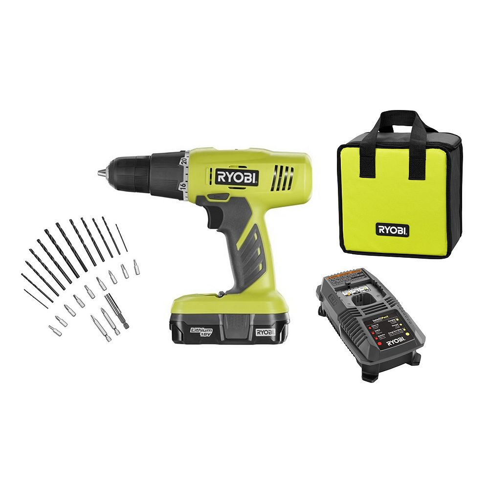 RYOBI 18V ONE+ Lithium-Ion 3/8-inch Cordless Drill Kit with 24-Piece Drilling and Driving Set