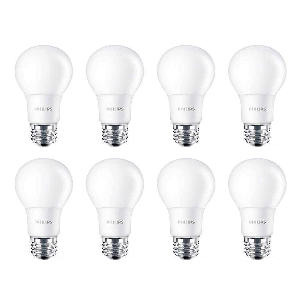 Philips Lampe de menage A19 DEL 100 W - Lumierè du jour (5 000 K). Non-gradable. Cas de 8 Ampoules
