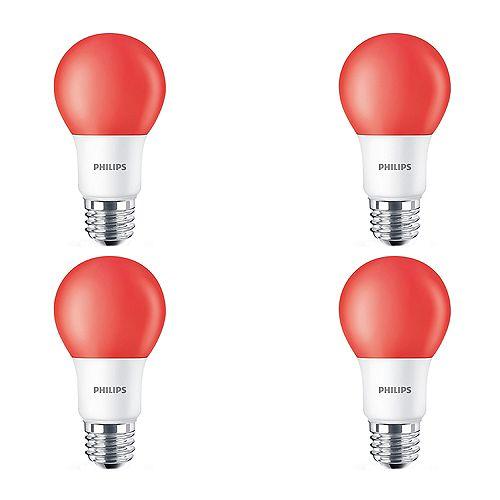 Philips Ampoule DEL A19, équivalence de 60 W, rouge, ens. de 4