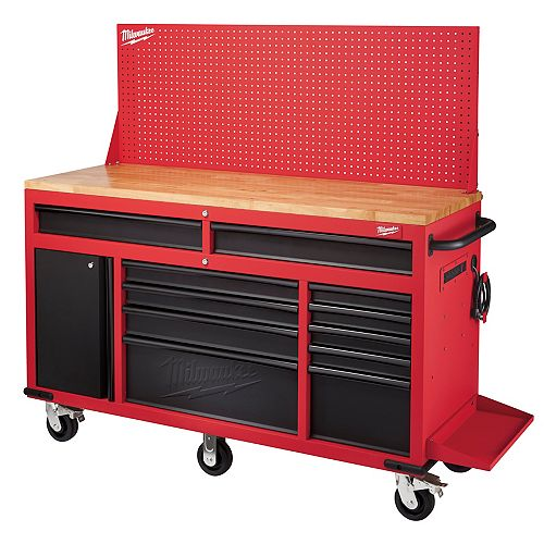 Milwaukee Tool 60-inch 11-Drawer Mobile Workbench with Adjustable Height Pegboard Wall in Red and Black