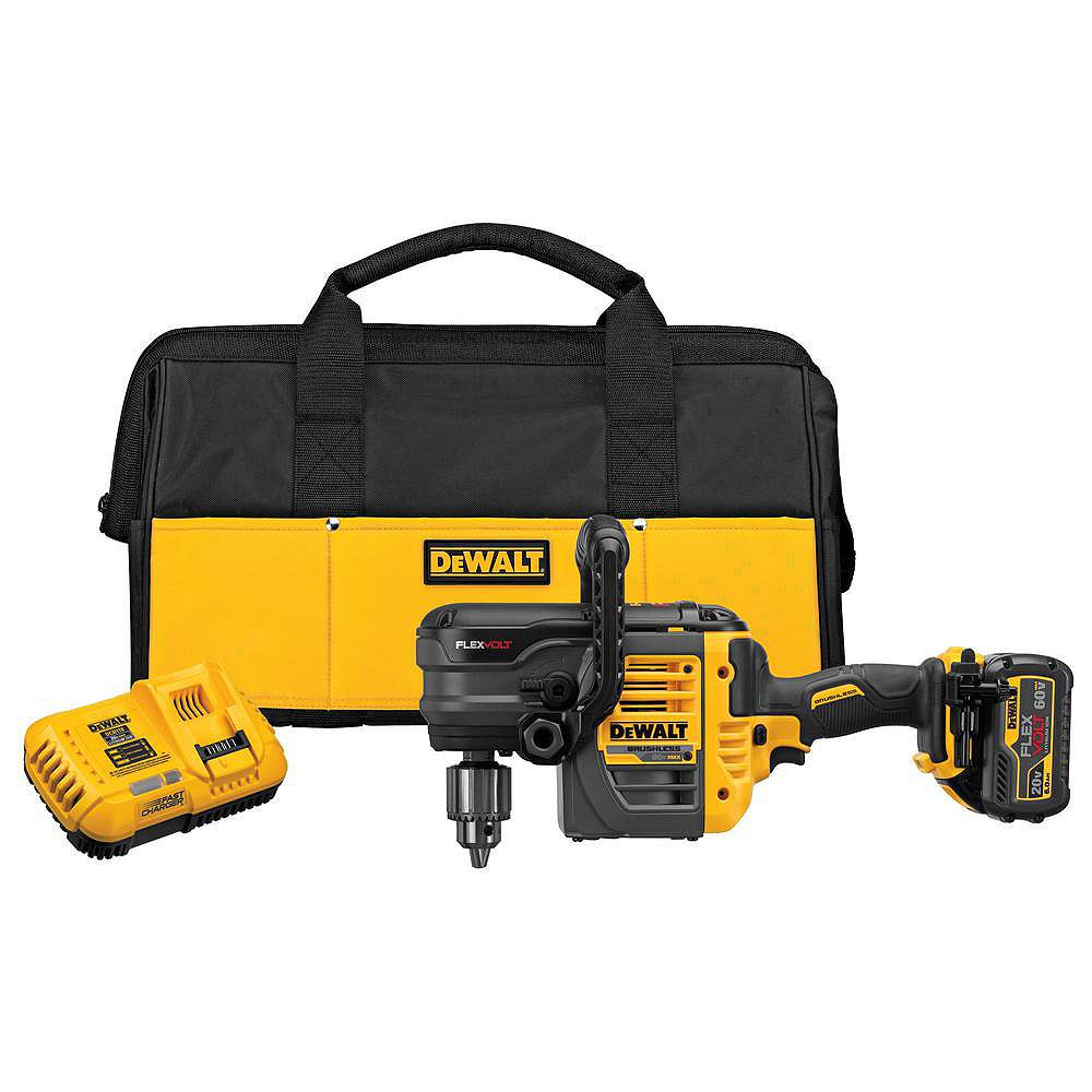 DEWALT FLEXVOLT 60V MAX Lithium-Ion Cordless Brushless 1/2-inch Stud and Joist Drill with Battery 2.0Ah, Charger & Tool Bag