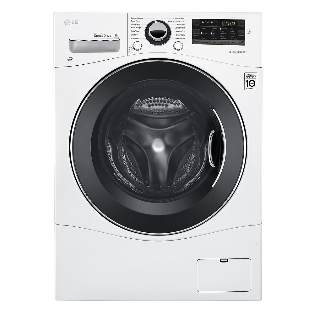 LG Electronics 24-inch W 2.6 cu. ft. Compact All-in-One Front Load Washer & Dryer Combo in White
