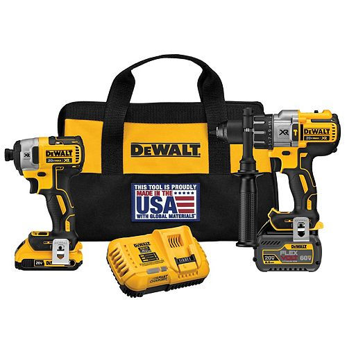 20V MAX Lithium-Ion Cordless Brushless Combo Kit (2-Tool) with FLEXVOLT and 20V Battery and Charger