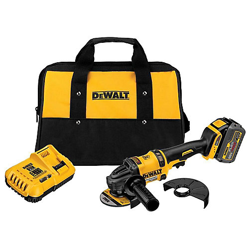 FLEXVOLT 60V MAX Li-Ion Cordless Brushless 4-1/2-inch Angle Grinder w/ Battery 2Ah, Charger and Contractor Bag