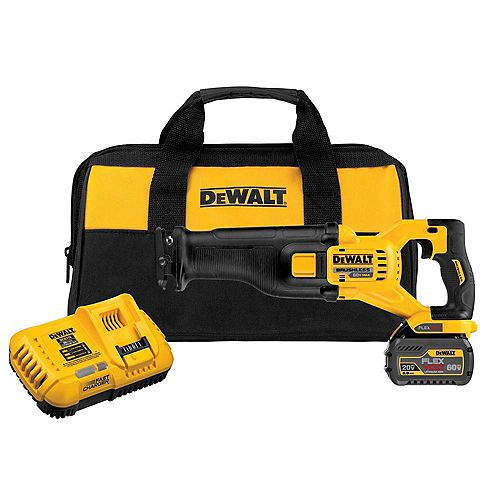FLEXVOLT 60V MAX Li-Ion Cordless Brushless Reciprocating Saw w/ (1) Battery 2Ah, Charger and Contractor Bag