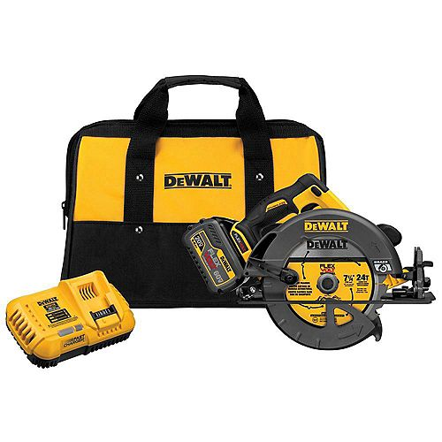 DEWALT FLEXVOLT 60V MAX Lithium-Ion Cordless Brushless 7-1/4-inch Circular Saw with Battery 2Ah, 1-Hour Charger and Case