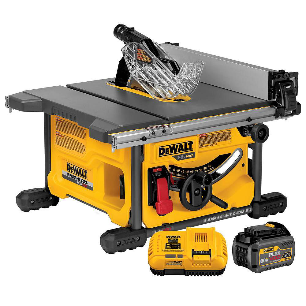 DEWALT FLEXVOLT 60V MAX Lithium-Ion Cordless Brushless 8-1/4-inch Table Saw Kit with Battery 2Ah and Charger