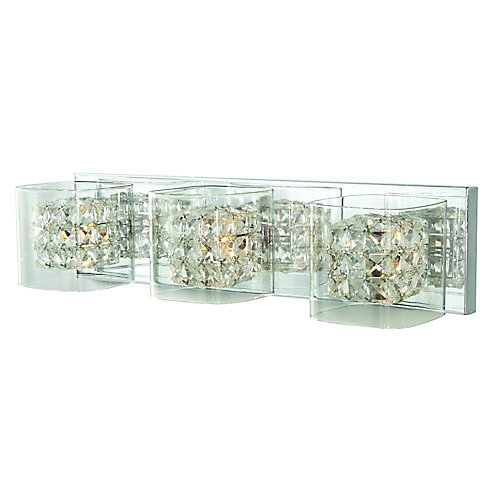 Weschler Crystal Cube 3-Light Polished Chrome Vanity Light with Clear Glass Shades