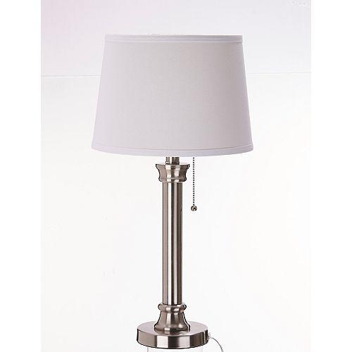 Lampe de table, 23 po, nickel brossé, ens. de 2
