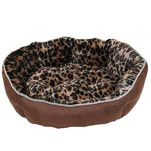 Diane Faux Suede Pet Bed With Fleece Interieur Cheetah Print : Brown 23 Inch  X 18 Inch  X 7 Inch