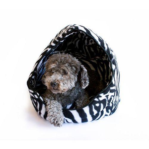 Eileen Blk Leopard Open Hooded Cuddler W/Cushion - 16 Inch X13 Inch X15 Inch