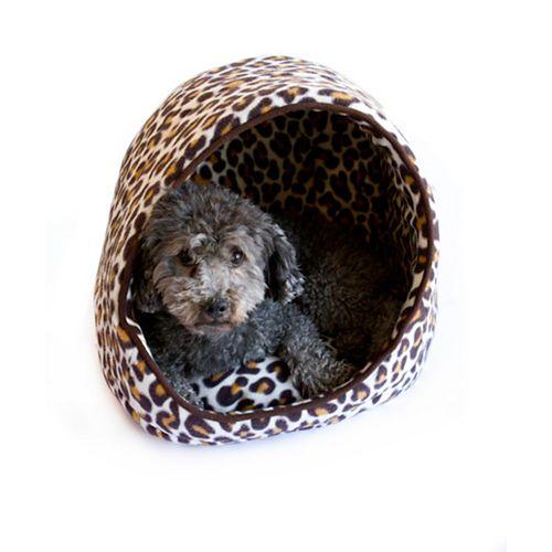 Eileen Brw Leopard Open Hooded Cuddler W/Cushion- 16 Inch X13 Inch X15 Inch