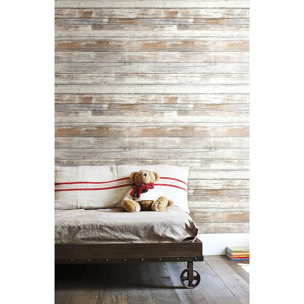 RoomMates Distressed Wood P & S Removable Wallpaper Wall Decals