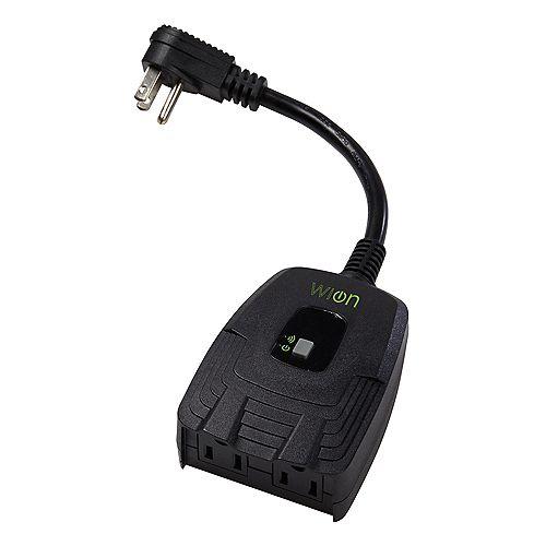 Prise exterieure double Wi-Fi avec interrupteur sans fil et minuterie programmable