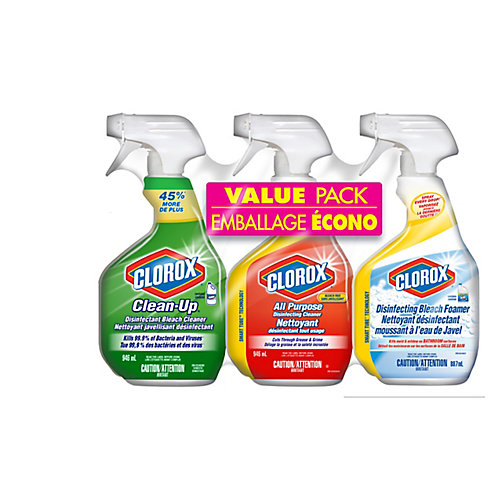3-Piece Cleaning Spray Value Pack: Bleach Cleaner, All Purpose Disinfecting Cleaner, and Disinfecting Bleach Foamer