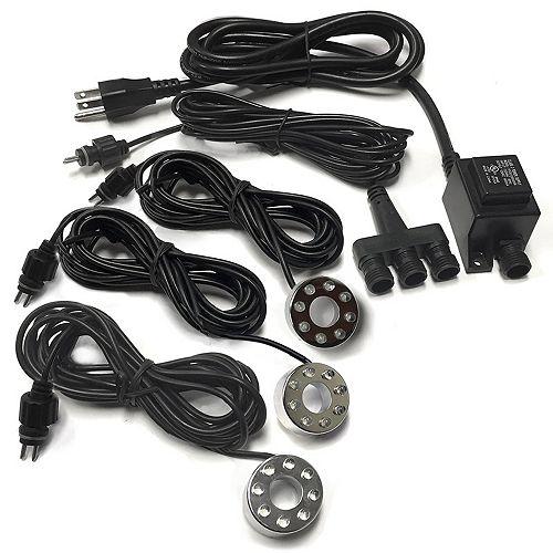 3 - lumière d'appoint 8-DEL avec cordon de 3,2 m, connecteur et  transformateur à 1,8 mètre cordon.