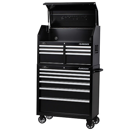 36-inch 12-Drawer Mobile Tool Storage Chest and Cabinet Set in Black
