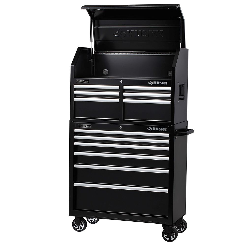 Husky 36 Inch 12 Drawer Mobile Tool Storage Chest And Cabinet Set In Black The Home Depot Canada
