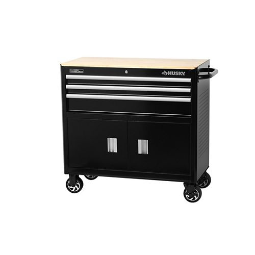 39-inch 3-Drawer Mobile Workbench and Tool Storage Cabinet in Black