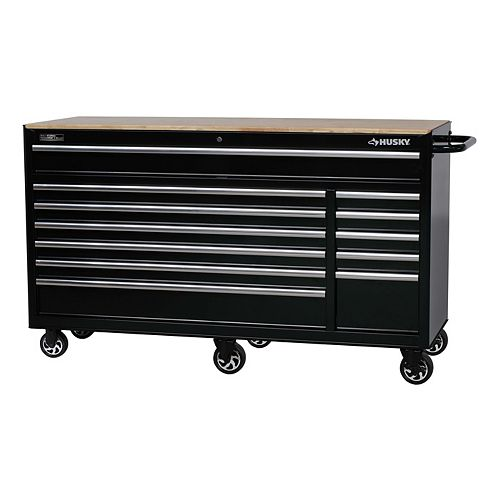 66-inch 12-Drawer Heavy-Duty Mobile Tool Storage Workbench in Black