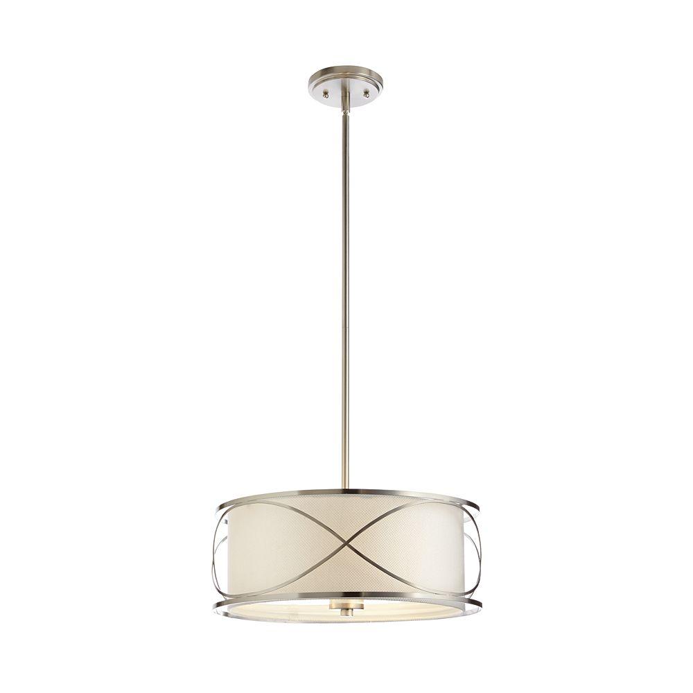 Home Decorators Collection Luminaire suspendu en nickel brossé à 3 ampoules