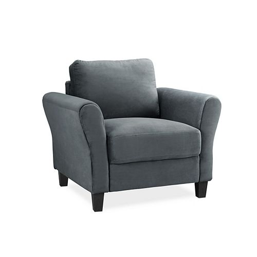 Kingston Contemporary Club Microfibre Accent Chair in Grey with Solid Pattern