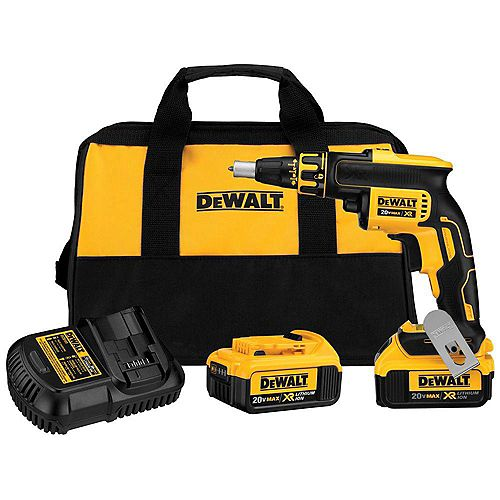 DEWALT 20V MAX XR Lithium-Ion Cordless Brushless Drywall Screw Gun with (2) Batteries 4Ah, Charger and Contractor Bag