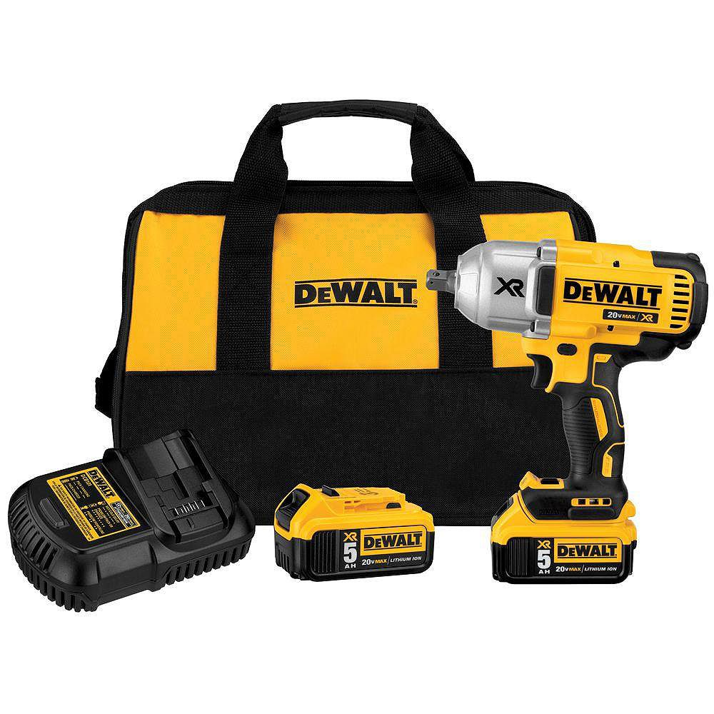 DEWALT 20V MAX XR Lithium-Ion Cordless 1/2-inch Impact Wrench Kit with Detent Anvil, 2 Batteries 5 Ah, Charger and Bag