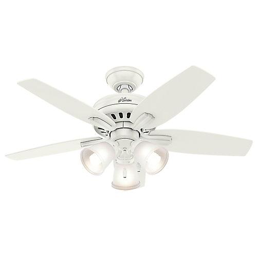 Hunter Newsome 42po Blanc Ventilateur de plafond avec 3lumières