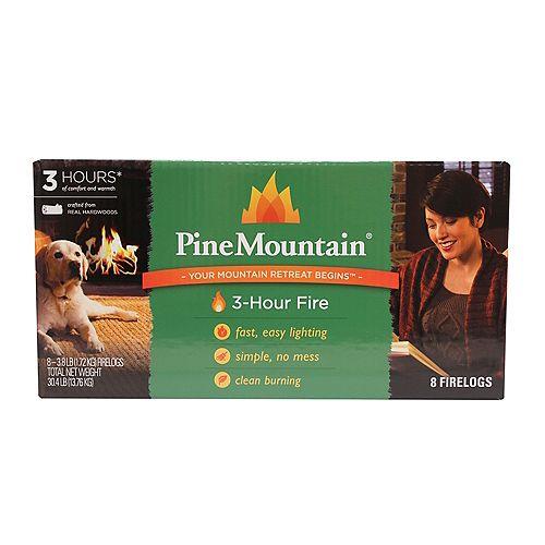 Clean Burning 3-hour Firelog (8-Pack)