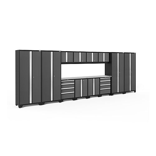 Bold Series 14-Piece Cabinet Set in Grey with Stainless Steel Worktop