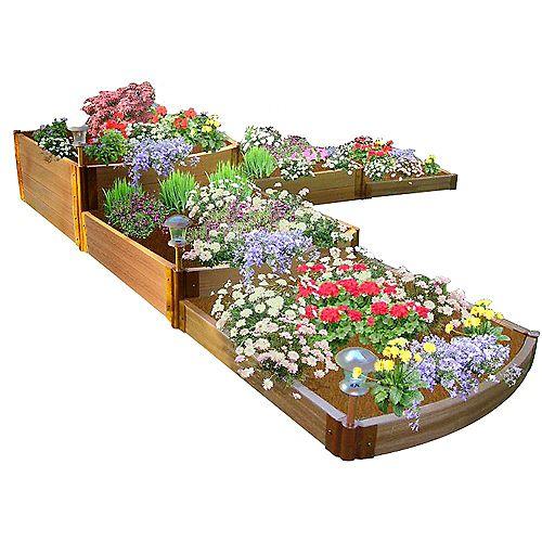Lit de jardin surélevé classique Sienna en forme de «L», profil 12  pi x 12 pi  x 11 po- 2po