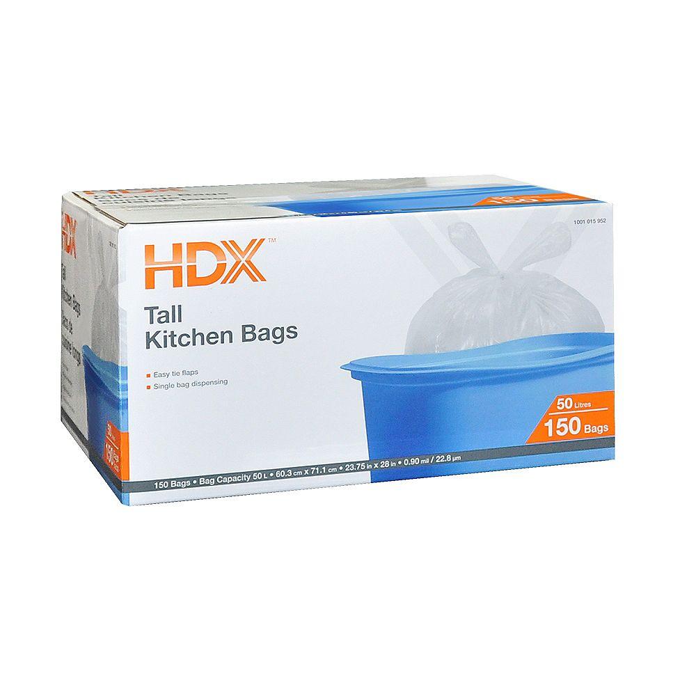 HDX Grand sac de cuisine, 50 L, transparent, paquet de 150