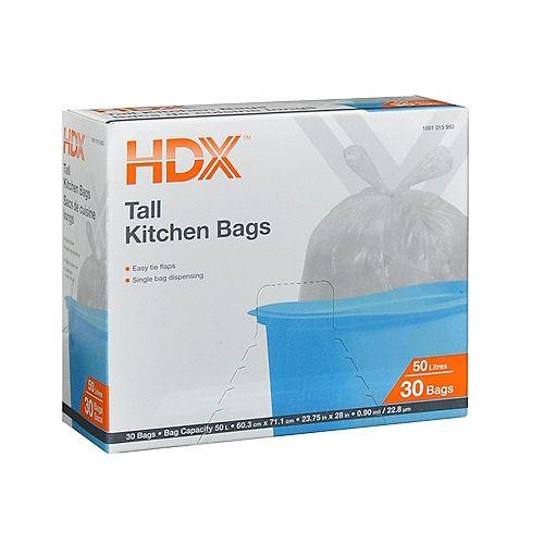 HDX Sacs de cuisine longs 50L 30 Sacs