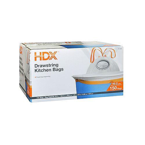 HDX Sacs poubelles de cuisine a cordon 42.5L 150 Sacs