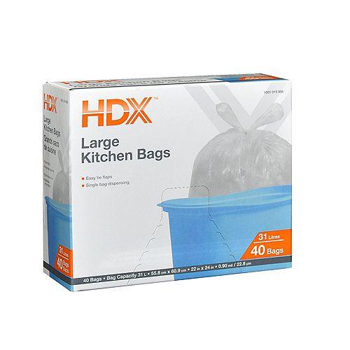 Grands sacs de cuisine HDX, 31 L, 40/paq.