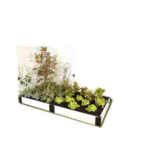 Jardin surélevé  Blanc 1in 4x8ft 1 Level c/w Système de treillis mural pour les légumes