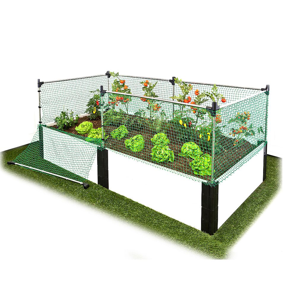 Frame It All 1-inch 4 ft. x 8 ft. 2-Level Raised Garden in White with Animal Barrier