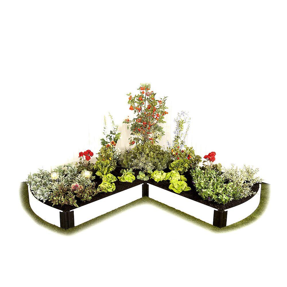 Frame It All Jardin surélevé  Blanc en forme de - L extrémités recourbées 1in 8x8ft 1 Level