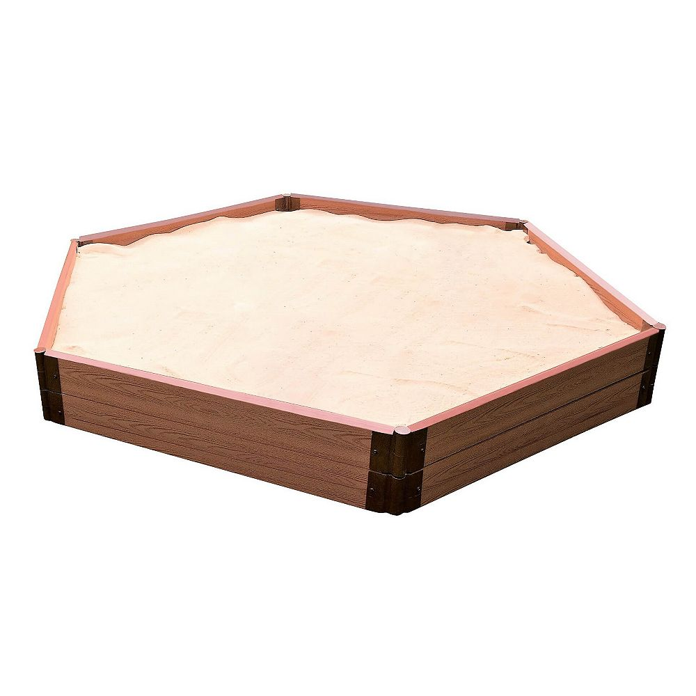 Frame It All Tool-Free Classic Sienna 7ft. x 8ft. x 11 inch Composite Hexagon Sandbox Kit - 2 inch profile