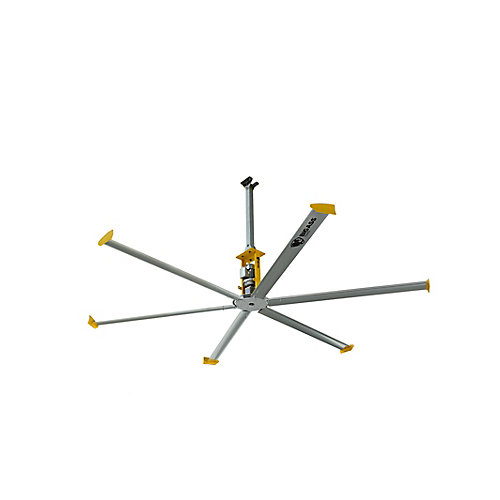 4900 14 ft. Indoor Shop Ceiling Fan in Silver and Yellow