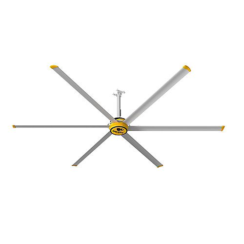 3600 12 ft. Indoor Shop Ceiling Fan in Silver and Yellow