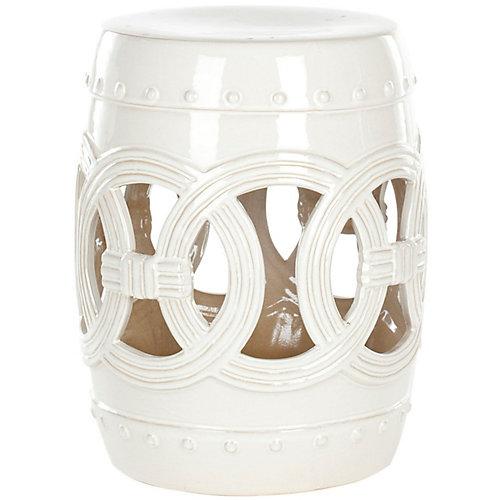 Tabouret en ceramique Double Coin en finition Blanc